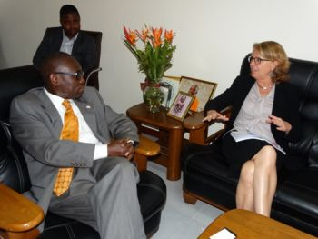Acting Min Sirleaf and Amb. Nordstrom at the meeting